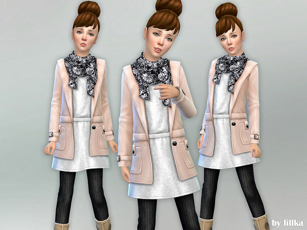 Sims 4 Fall Outfit for Girls 01 by lillka at TSR