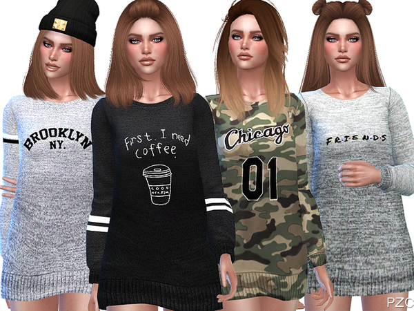 Cute Fall Sweaters by Pinkzombiecupcakes at TSR image 1100 Sims 4 Updates