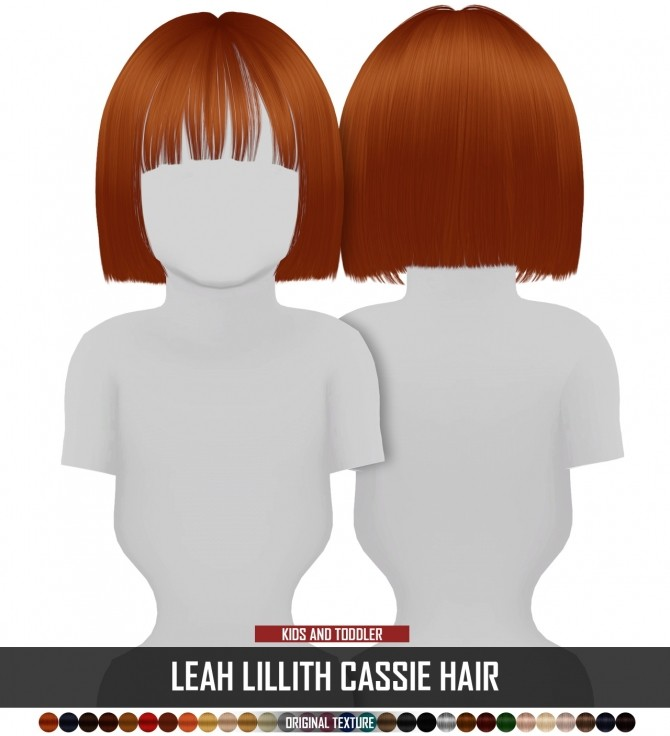 Sims 4 LEAH LILLITH CASSIE HAIR KIDS AND TODDLER VERSION by Thiago Mitchell at REDHEADSIMS