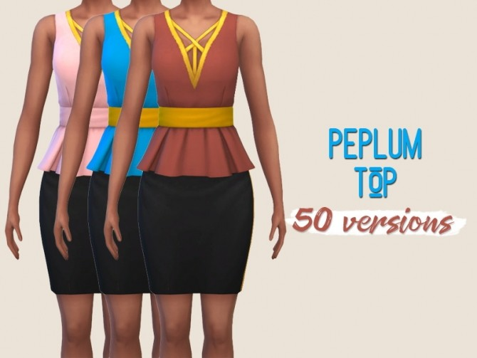 Peplum top at Midnightskysims image 1177 670x503 Sims 4 Updates