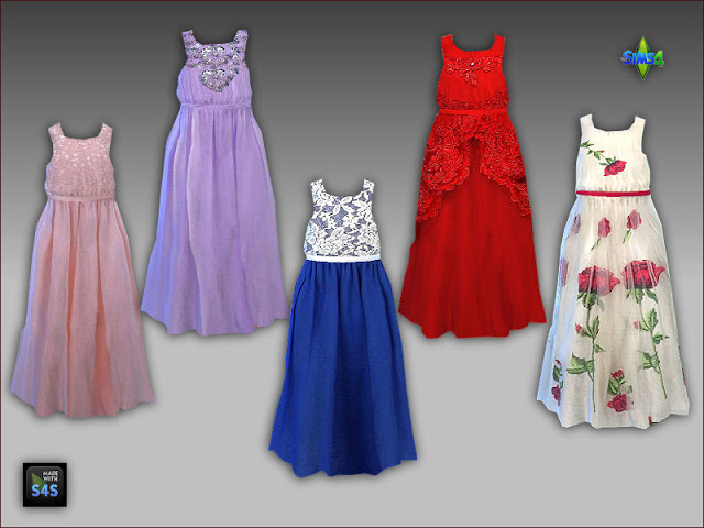 Sims 4 Long gowns for big and little girls by Mabra at Arte Della Vita