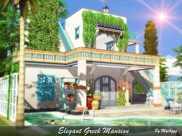 Elegant Greek Mansion by MychQQQ at TSR image 121 Sims 4 Updates