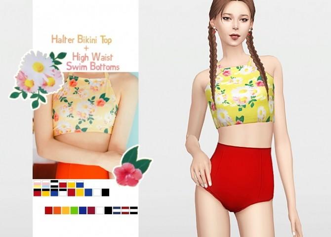 Halter Top + High Waist Swim Bottoms at Waekey image 1262 670x479 Sims 4 Updates