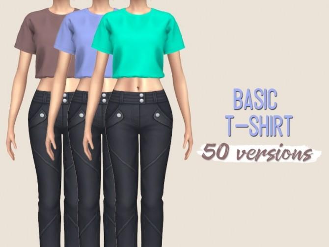 Sims 4 Strapless Midi Dress & Basic T shirt at Midnightskysims