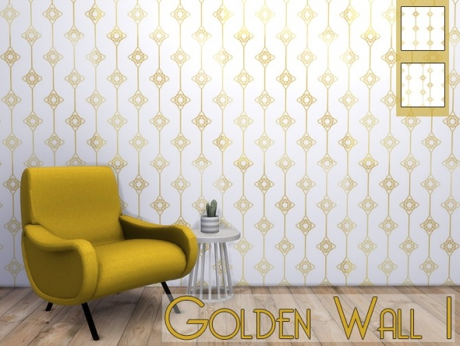 Sims 4 Golden Wall 1 at MODELSIMS4