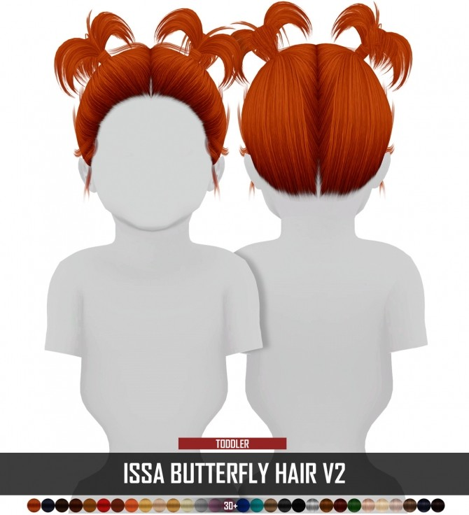 Sims 4 ISSA BUTTERFLY HAIR by Thiago Mitchell at REDHEADSIMS