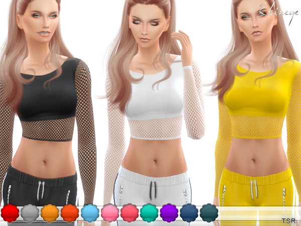 Sims 4 Fishnet Crop Top by ekinege at TSR