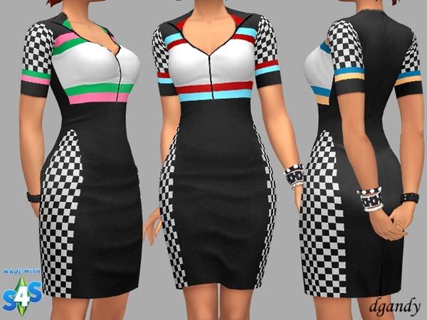 Sims 4 Checkered Dress Fran by dgandy at TSR