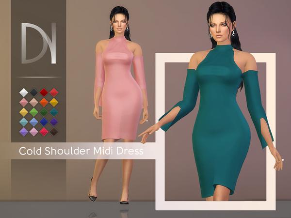 Sims 4 Cold Shoulder Midi Dress by DarkNighTt at TSR