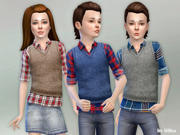 Sims 4 Checkered Shirt with Vest by lillka at TSR