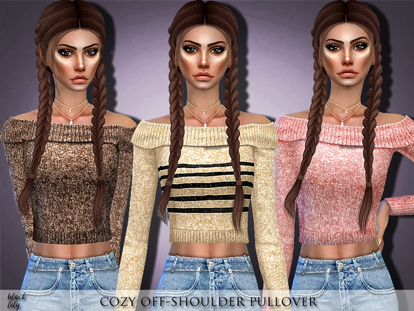 Cozy Off Shoulder Pullover by Black Lily at TSR image 1527 Sims 4 Updates
