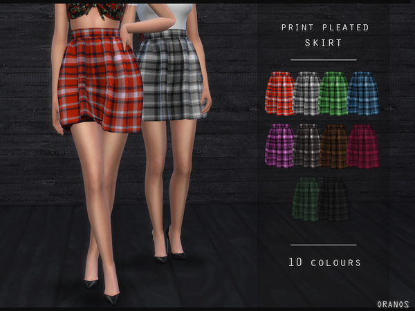 Sims 4 Print Pleated Skirt by OranosTR at TSR
