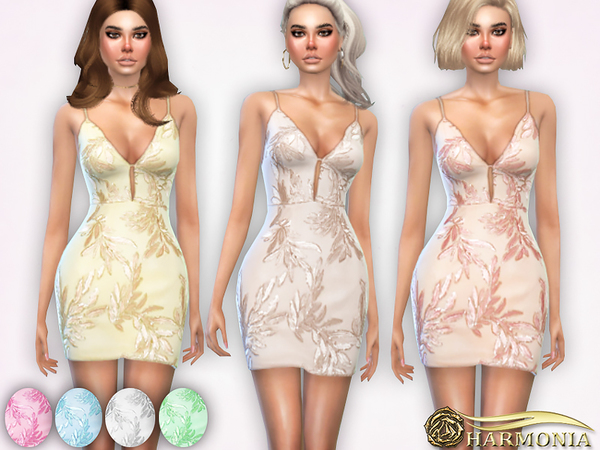 Sims 4 Floral Sequin Embroidered Pointy Dress by Harmonia at TSR