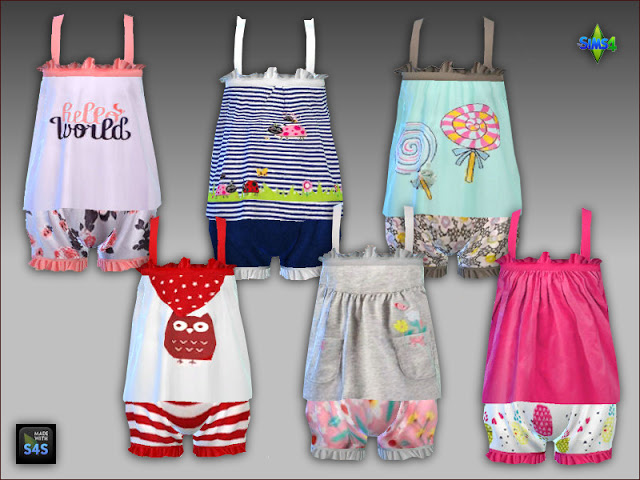 Sims 4 PJs and pacifiers for toddler girls by Mabra at Arte Della Vita