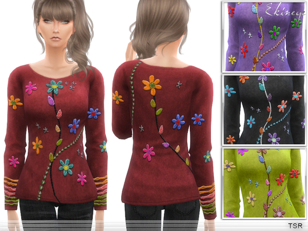Sims 4 Embroidered Top by ekinege at TSR