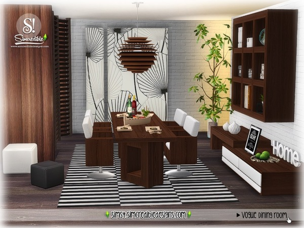 Sims 4 Vogue dining set by SIMcredible at TSR