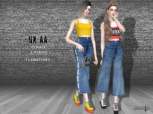 NXAA 3/4 Jeans by Helsoseira at TSR image 1728 Sims 4 Updates