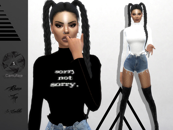 Sims 4 Raven Top by Camuflaje at TSR