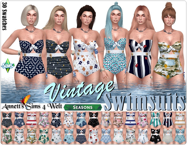 Sims 4 Vintage Swimsuits at Annett's Sims 4 Welt
