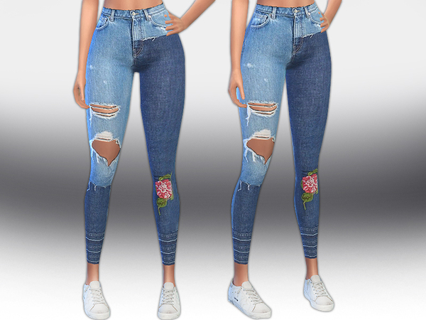 Sims 4 Designer Patch Jeans by Saliwa at TSR