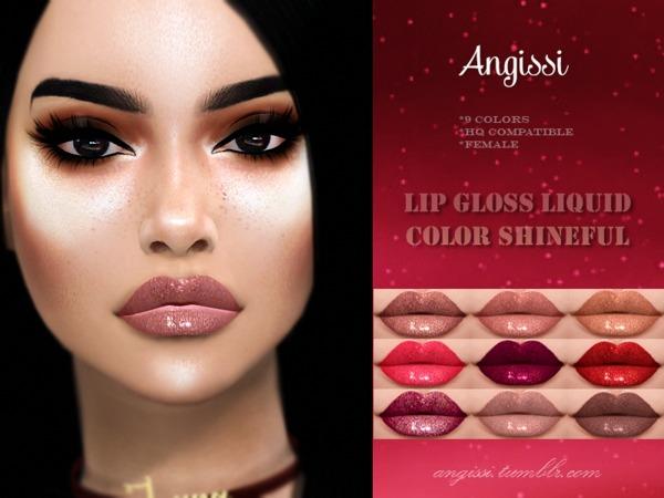 Lip gloss Liquid Color Shineful by ANGISSI at TSR image 1914 Sims 4 Updates