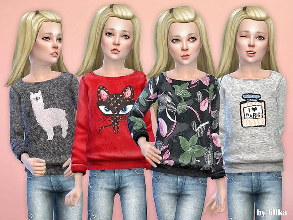 Sims 4 Printed Sweatshirt for Girls P31 by lillka at TSR