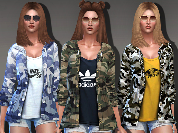 Sims 4 Camo Sporty Jackets by Pinkzombiecupcakes at TSR