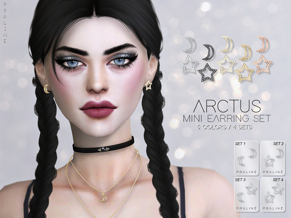 Sims 4 Arctus Mini Earrings Set by Pralinesims at TSR