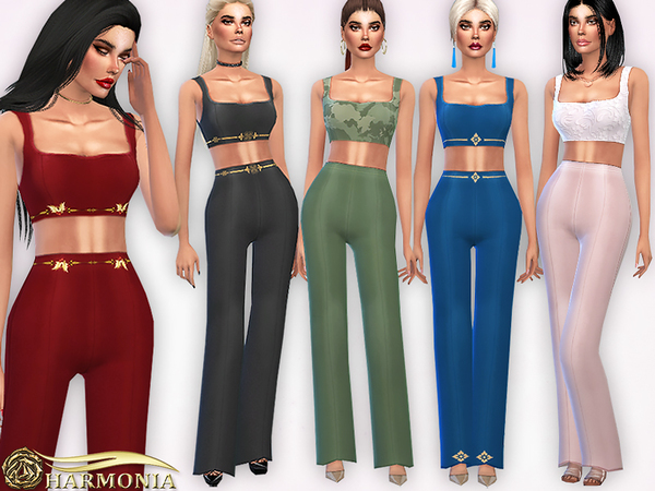 Sims 4 Co ords Square Neck Top/Long Leg Trousers by Harmonia at TSR