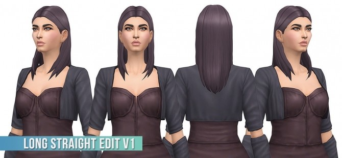 Sims 4 Long Straight Hair Edit v1 at Busted Pixels