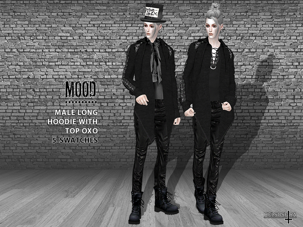 MOOD Male Long Hoodie with Top by Helsoseira at TSR image 2513 Sims 4 Updates