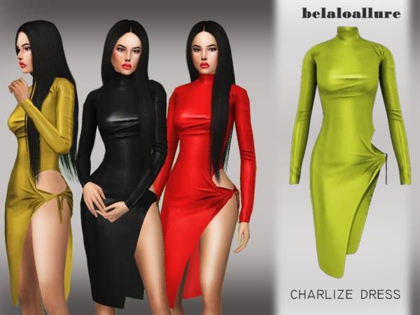 Sims 4 Belaloallure Charlize dress by belal1997 at TSR