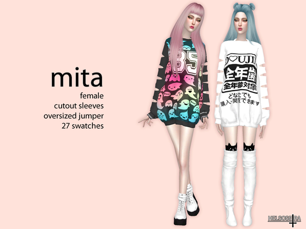 MITA Cutout Sleeves Oversized Top by Helsoseira at TSR image 263 Sims 4 Updates