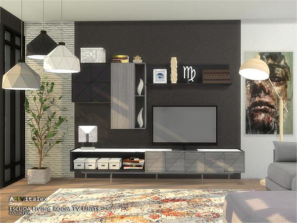 Escuda Living Room TV Units by ArtVitalex at TSR image 264 Sims 4 Updates