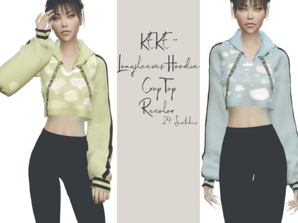 KEKE Longsleeves Hoodie Crop Top Recolor by Reevaly at TSR image 2718 Sims 4 Updates