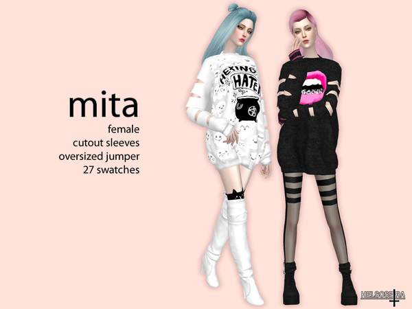 MITA Cutout Sleeves Oversized Top by Helsoseira at TSR image 273 Sims 4 Updates