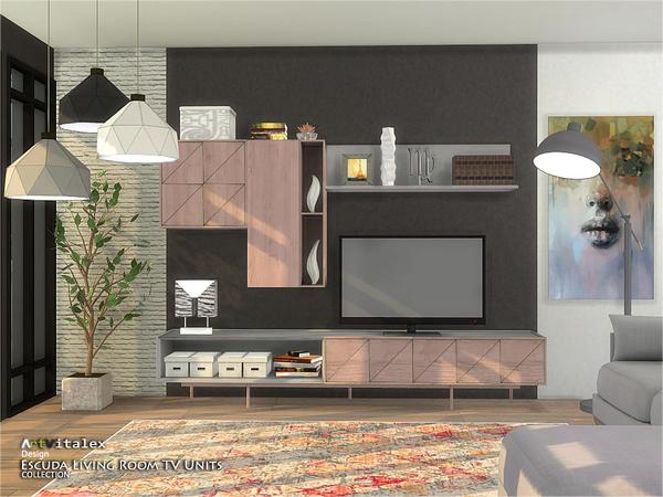 Escuda Living Room TV Units by ArtVitalex at TSR image 274 Sims 4 Updates