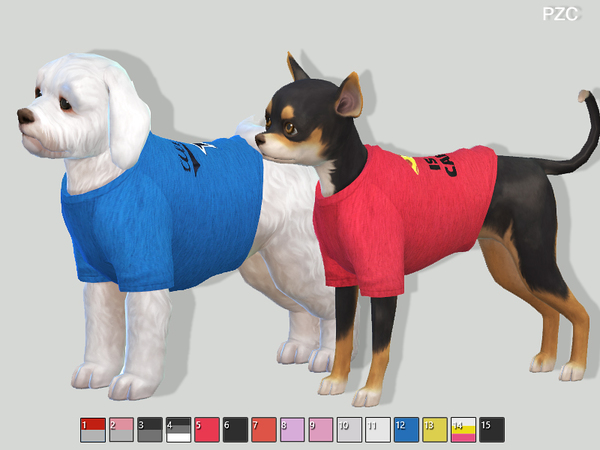 Sporty t shirts for small dogs by Pinkzombiecupcakes at TSR image 276 Sims 4 Updates