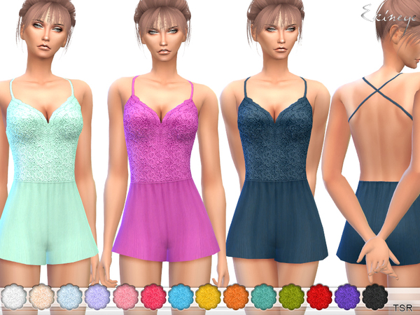 Sims 4 Lace Bodice Romper by ekinege at TSR