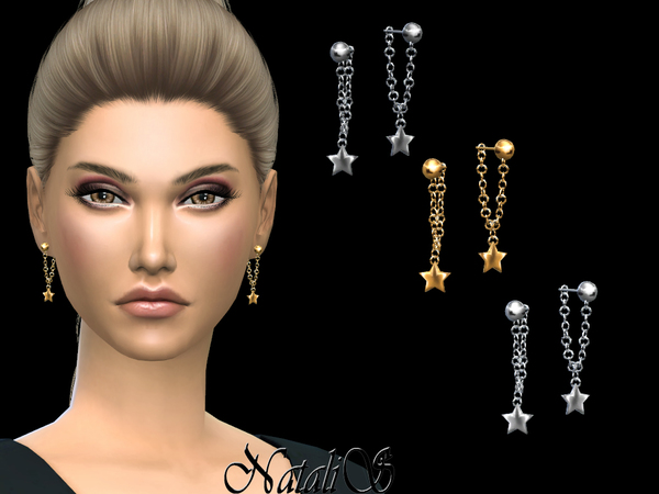 Sims 4 Hanging Chain Star Earrings by NataliS at TSR