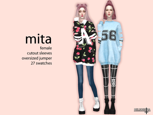 MITA Cutout Sleeves Oversized Top by Helsoseira at TSR image 283 Sims 4 Updates