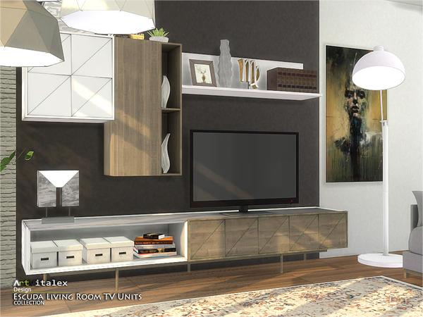 Escuda Living Room TV Units by ArtVitalex at TSR image 284 Sims 4 Updates