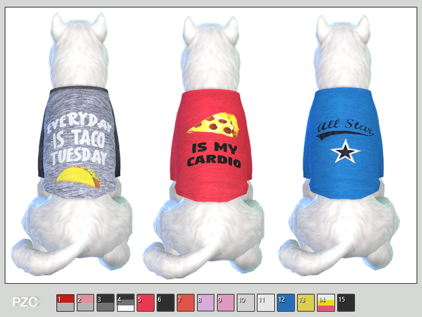 Sims 4 Sporty t shirts for small dogs by Pinkzombiecupcakes at TSR