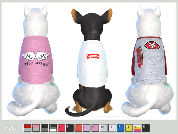 Sporty t shirts for small dogs by Pinkzombiecupcakes at TSR image 296 Sims 4 Updates