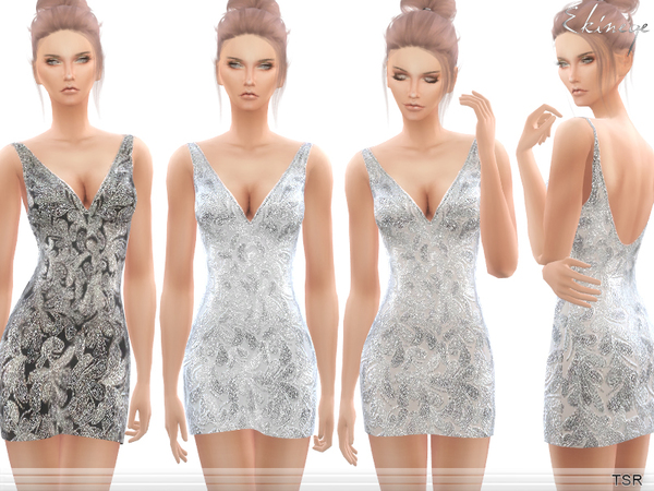 Sims 4 Beaded V Neck Short Dress by ekinege at TSR