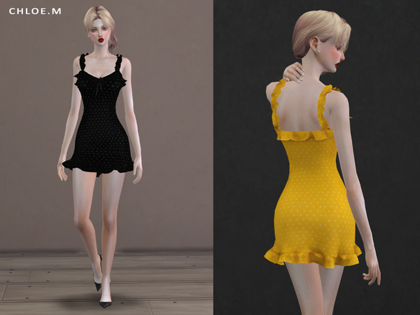 Sims 4 French flair dress by ChloeMMM at TSR