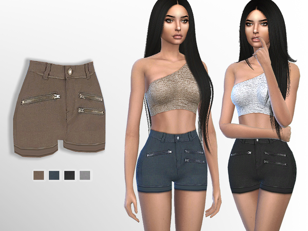 Sims 4 Zipper Shorts by Puresim at TSR