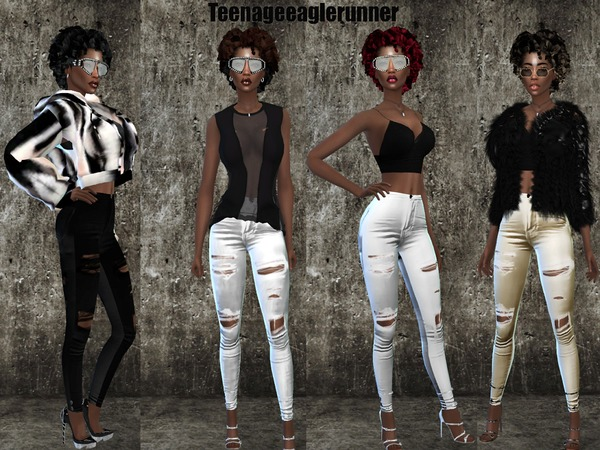 Sims 4 Ripped Vintage Color Jeans by Teenageeaglerunner at TSR