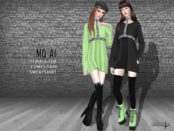 MOAI Oversized Tape Sweatshirt TOP by Helsoseira at TSR image 3271 Sims 4 Updates