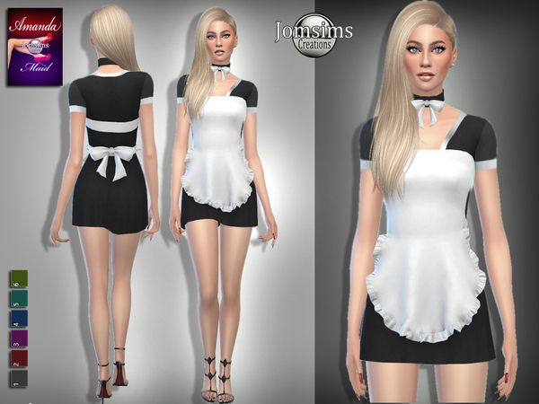 Sims 4 Amanda maid outfit by jomsims at TSR